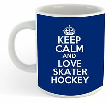 keep calm and love Patinador Hockey Taza - Azul