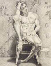 "9"" x 12"" drawing print nude male with contemplated look gay art"
