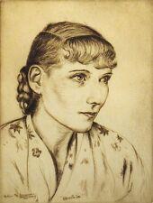 "Elias Grossman ""Beatrice"" Vintage Hand Signed Etching, 1936, Jewish Artist, OBO!"