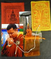 PRAYER WHEEL + SAI SIN Buddha Sacred CORD BRACELET + 2 TEMPLE CLOTHS PHA YANT