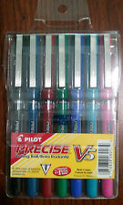 7 Pilot Precise V5 Rollerball Pens in Assorted Colors Extra Fine 0.5mm