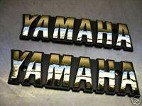 """2x NEW TANK TANKEMBLEM """"YAMAHA"""" GOLD BADGES EMBLEME EMBLEMS XS 400 XS 650 XS 850"""