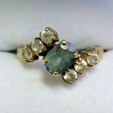 Vintage 9 Carat Gold Green and White Tourmaline Ring