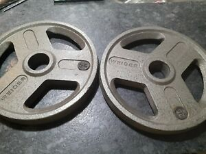 """Weider 25 Lb Olympic 2"""" Weight Plates Set of 2 - 50lbs Total Pounds"""