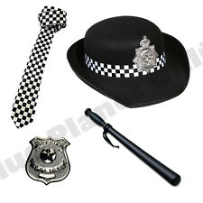 Wpc Police Woman Cappello Cravatta Sfollagente Badge Donna Costume Vestito