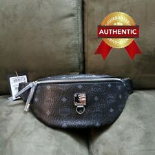 NEW Authentic MCM Fursten Belt Bag in Visetos Fanny Pack / Black SMALL