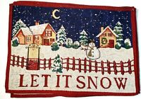 """Set 6 Vintage """"Let it Snow """" Tapestry Woven Placemats Christmas Holiday Table"""