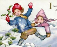 Christmas~CHILDREN PLAY IN SNOW~SIGNED MEP Margaret Evans Price~Vintage Postcard