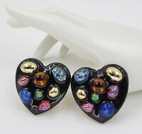 Vintage 80s Cabochon Heart Colorful Black Clip Earrings Huge Massive Statement