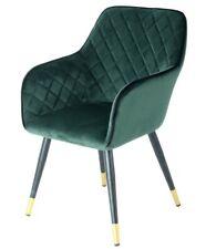 Samt Stuhl Gesteppt Grün Gold mit Lehne Esszimmerstuhl Wohnzimmer Stühle