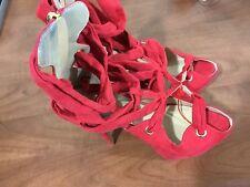 Women's size 6 1/2 red strap he ankle wrap zipper back heals