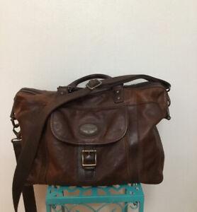 Vintage Fossil Weekender Brown Leather Overnight Brief Carryall Shoulder Bag