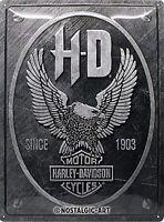 Harley Davidson Metallico Aquila Logo Grande Goffrato Metallo Firmare 400mm x