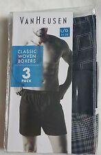 VAN HEUSEN MEN'S SET 3 PACK UNDERWEAR CLASIC WOVEN BOXERS COTTON L Large NEW