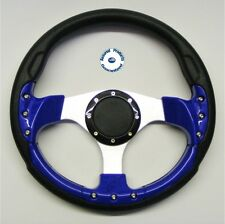 "NEW ""GRAND PRIX SPORT"" DELUXE Sports Boat Steering Wheel BLUE BLACK and SILVER"