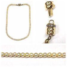 perlas de cultivo Collar Cadena 585er Oro Cierre brillantes 41,5 cm