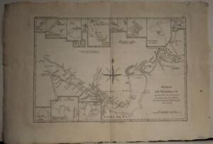 SOUTHERN SOUTH AMERICA 1788 RIGOBERT BONNE ANTIQUE ORIGINAL COPPER ENGRAVED MAP