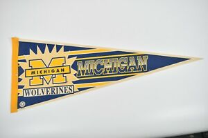 """Vintage 1990's Michigan Wolverines Football 30"""" Full Size Pennant Collegiate"""
