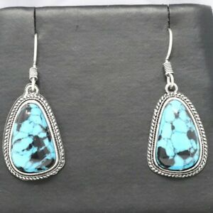 Handmade Blue Turquoise Hook Earrings Sterling Silver Vintage Antique Jewelry
