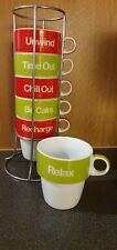 Next Set of 6 Cups White, Green & Red In Stand