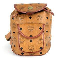 Auth MCM MUNCHEN Visetos Brown Canvas & Leather Mini Backpack Shoulder Bag E0346