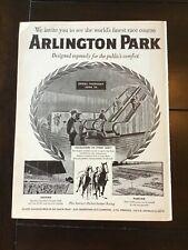 ARLINGTON PARK RACE TRACK 1954 AD Horse Racing RARE