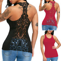 Ladies Womens U-Neck Lace Trim Racerback Tank Tops Hollow Out Sport Vest Blouse
