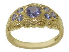 Tanzanite Vintage Style Band Ring Solid 9K Yellow Gold Natural