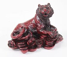 """4"""" Red Money Tiger Wealth Statue Figurine Chinese Zodiac Home Decor Gift"""