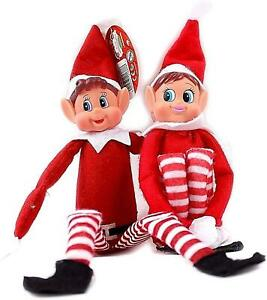 "Elf Boy and Girl 12"" Red Long Leg Soft Body Vinyl Face Christmas Decorations"