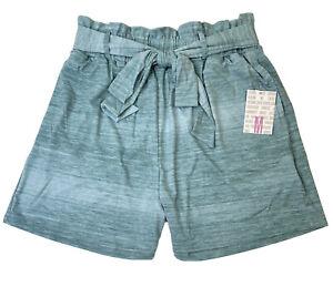 LuLaRoe Ella Paper Bag Shorts - Teal & Baby Blue - Size Medium - #3978