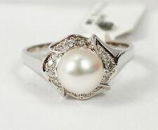 Juguetón Anillo Oro Blanco 585 con perla cultivada y brillante 0,12 CT
