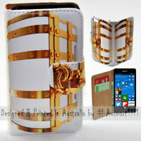 For Nokia Series - Gold Treasure Chest Print Wallet Mobile Phone Case Cover