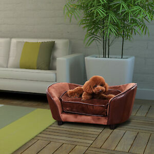 PawHut Pet Sofa Bed Warm Cushion Dog Couch Indoor Seat Mat House Puppy Coffee