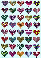 Heart Shaped Assorted Patterns Valentines Day Stickers Craft Projects 200 Pack