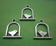 50 Bird Charms, Tibetan Antique Silver Metal 17 x 15 mm -  035