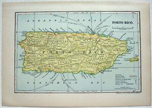 Porto Rico - Original 1903 Dated Map by Dodd Mead & Co. Puerto Rico  Antique
