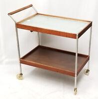 1960's SALTON Mid Century Modern Aluminum and Wood Hot Tray Heated Tea Cart