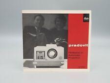 "Original 1962 ""PRADOVIT SLIDE PROJECTOR"" Leica/Leitz Brochure"
