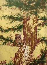 "Marcia Mancheski ""Horned Owl"" Hand Signed Color Serigraph Fine Art Print, birds"