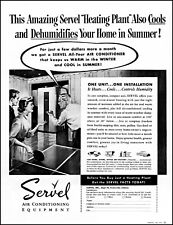 1952 ping pong Servel air conditioning man woman vintage art Print Ad adL72