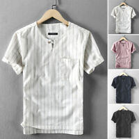 Men's Retro Striped Short Sleeve Grandad Collar Casual Slim Fit Tops Shirts Tee