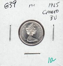 G39 CANADA 10c - 10 CENTS COIN 1965 BRILLIANT UNCIRCULATED, CAMEO FROSTED DESIGN