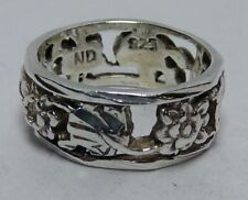 925 Sterling Silver Ladies Sz 5 Ring Carved Out Leaves Flower 7mm Band ND Mark