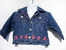 George Girls Long Sleeve Denim Jacket with Embroidered Roses Size 6-12 Months