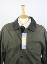 BURBERRY MENS LEATHER JACKET COAT LARGE 44 KHAKI SUEDE ENGLAND INNER CHECK