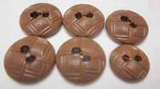 6 Pc Lot Brown Woven Basket Style 2 Hole Plastic Buttons