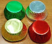 128X Baking Cups Foil Standard Muffin Cupcake Paper Liners Red Green Gold Silver