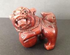 NETSUKE BOXWOOD LARGE FOO DOG NICE DETAIL UK SELLER FAST SHIPPING