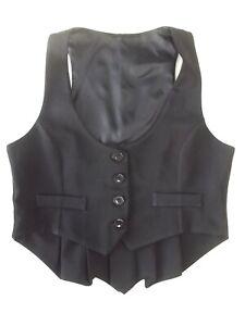 Smart Ladies waistcoat Size 14 Black with pleated back hem Good cond Xmas VR2